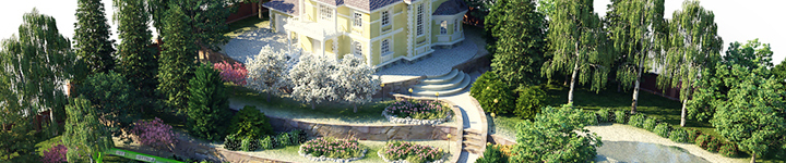 У нас можно заказать ландшафтный проект на всю прилегающую к дому территорию